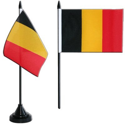 Tischflagge / Tischfahne Belgien + gratis Aufkleber, Flaggenfritze®