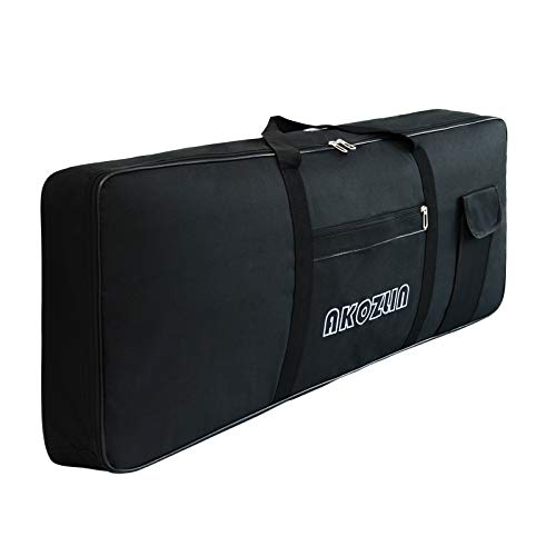 AKOZLIN 61 Keys Portable Padded Keyboard Case,Dimension 41.3'x7.8'x16.5', Electric Piano Keyboard Gig Bag (Black)