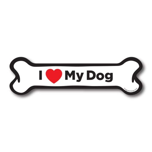 Magnet Me Up I Love My Dog Dog Bone Car Magnet - 2x7 Dog Bone Auto Truck Decal Magnet