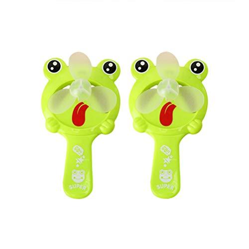 STOBOK 2PCS Frog Shape Handheld Fan Mini Ventilador de bolsillo portátil Verano Personal Fan (verde)