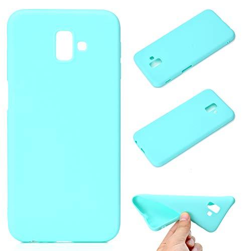 LeviDo Coque Compatible pour Samsung Galaxy J6+/J6 Plus 2018 Étui Silicone Souple Bumper Antichoc TPU Gel Cover Bonbons Couleurs Ultra Fine Mince Caoutchouc Etui, Bleu Vert
