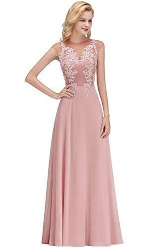 MisShow Ballkleider Maxilang Abendkleid Ärmellos Chiffon Festliches Hochzeitskleider Partykleid Rosa 36