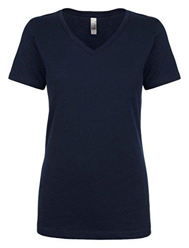 Next Level Women's Lightweight V-Neck Jersey T-Shirt, X-Large, Midnight Navy