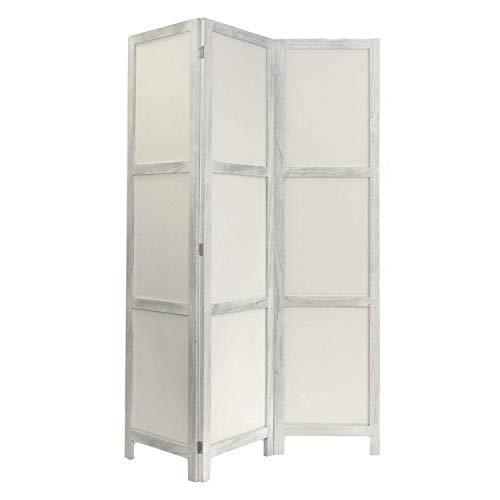 NEG Paravent Rigel (Shabby chic weiß) Raumteiler/Sichtschutz aus Echt-Holz und Baumwolle