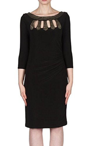 Joseph Ribkoff Cutout Studded Long Sleeve Sheath Dress Style 173016 - Black -16
