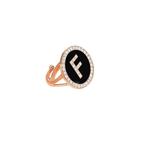Damesring initiaal naam letter F zwart verstelbaar Dvccio 7140