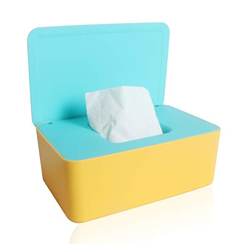 Aufbewahrungsbox für Feuchttücher, Baby Feuchttücherbox Baby Tücher Fall Toilettenpapier Box für trockene und nasse Seidenpapier Serviettenhalter Feuchttücher (gelb + grün)