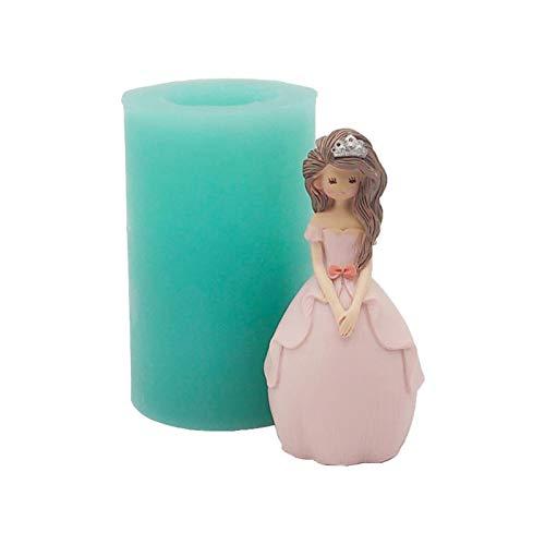Molde de silicona 3D de princesa, molde de silicona para hacer velas y jabón.