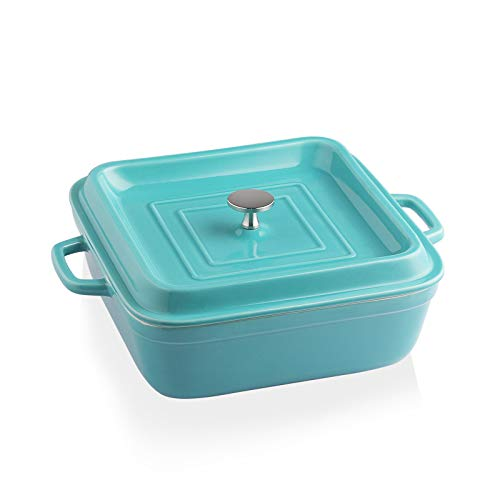 SWEEJAR Ceramic Casserole Dish with Lid, 2.5Quart Square Lasagna Pan for Cooking, Dinner, Kitchen, 12.4 x 10.1 x 3.3 Inches (Turquoise)