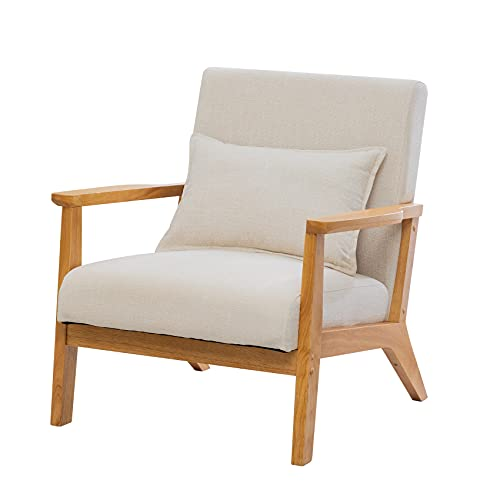 UNICOO - Mid-Century Modern Accent Chair, Fabric Reading Armchair, Easy Assembly, Lounge Chair for Living Room Bedroom (U202-1-BE Beige)