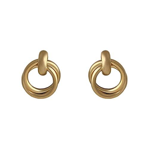 DHDHWL Pendientes retro literario mate mate textura simple y versátil aros aros plata aguja anillo pendientes pendientes mujer