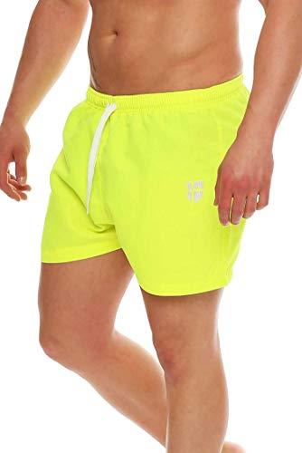 Gennadi Hoppe Herren Badeshorts kurz Badehose Strand Shorts Boardshorts,neon gelb,Large
