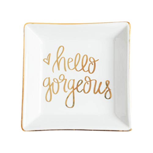 Hello Gorgeous Jewelry Dish Square Ceramic Trinket Tray Gold Office Decor Home Ring Inspirational Storage Hand Lettered Heart Motivational (Hello Gorgeous)