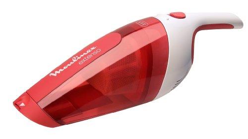Moulinex MX232301 Aspirateur à Main Extenso Dry Sans Fil Rechargeable Embout Télescopique Cleanette Rouge et Blanc