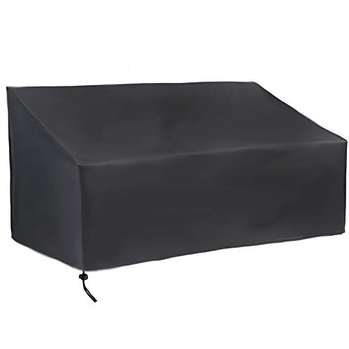 Jungda Garden Seater Cover 2 3 4 Seaters Rattan Sofa Bench Cover Waterproof Windproof UV Resistant Outdoor Covers for Bench Sofa 420D Oxford Fabric Black (3 Seaters: 162x66x89cm)