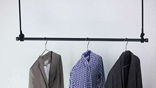 craftwerk 11 Hängegarderobe 100cm schwarz aus Metall - Seil höhenverstellbar - Kleiderstange Deckenmontage