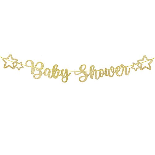 Baby Shower Letter Banner Paper Star Bunting with Golden Ribbon DIY Garlands Baptism Boys Girls Unisex First Birthday Party Christening Living Room Home Decoration (Gold Glitter)