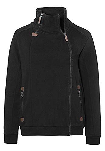 Sublevel . Damen Zipperjacke Sweatjacke Übergangsjacke modern und stylisch mit Reißverschlüssen in schwarz XS-XL (S)