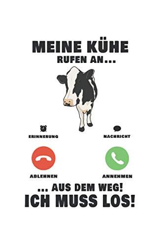 Kühe Landwirt Notizbuch: Meine Mädels rufen an Kühe Rinder Landwirt / 6x9 Zoll / 120 karierte Seiten