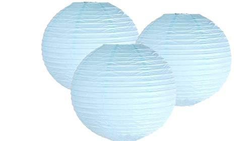Matissa Papierlaternen, 40 cm, 3 Stück, für Hochzeit, Party, Dekoration, Bastelarbeiten, Lampenschirme (hellblau)