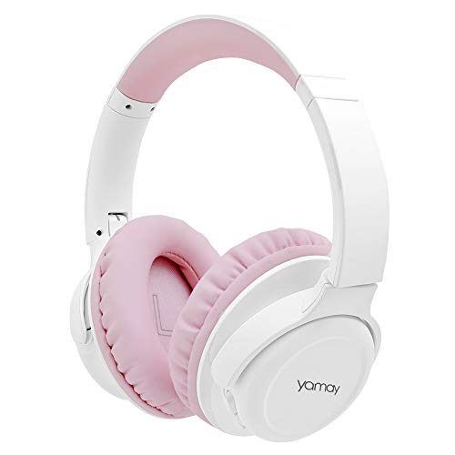 YAMAY Cuffie Bluetooth 5.0 Senza Fili con Microfono Cuffie Wireless Over Ear con Cavo Audio da 3.5mm Musica Stereo Cancellazione Rumore Due Dispositivi Voice Command Pieghevoli per Cellulare PC TV
