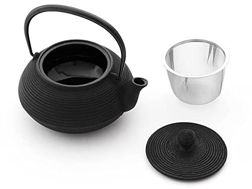 Iwachu Teekanne Gusseisen. Japanische Kyusu Senbiki, Original, Schwarz 650ml, 0,65 Liter Sieb-Einsatz Edelstahl. Innen Emailliert