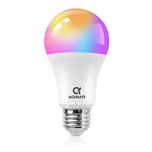 ACEMATE Bombilla inteligente LED WiFi Regulable Multicolor Lámpara(no se requiere hub),E26(E27),7W=75W,Luz Cálida/Frías & RGB,A19/A60,compatible con Alexa,Siri,Echo,Google Home o IFTTT Control(1 PCS)