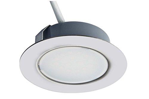 Trango 1er Set 12Volt AC/DC LED Möbel Einbaustrahler, Einbauleuchte, Deckenleuchte TGG4E-018 in Chrom zum Ersetzen herkömmlichen G4 Möbelleuchten Küchenhaube-Leuchten usw.