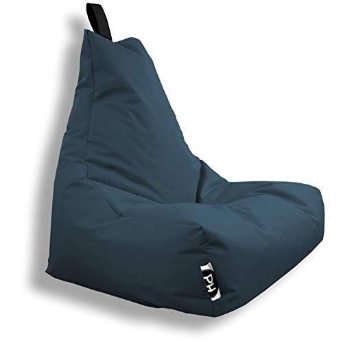 Patchhome Lounge Sessel XXL Gamer Sessel Sitzsack Sessel Sitzkissen In & Outdoor geeignet fertig befüllt | XXL - Blaugrau - in 2 Größen und 25 Farben
