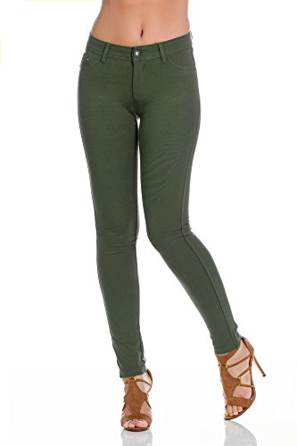 Freyday Modische Damen Jeggings Leggings Hüfthose Stretch Slimfit (L, Khaki)