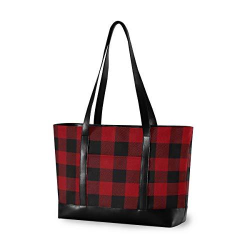 DOSHINE Damen Laptoptasche, rot schwarz kariert, geometrische Canvas Tote Bag Handtasche Leichte Computer Laptop Tasche 15,6 Zoll Schultertasche für Business Büro Arbeit Reisen