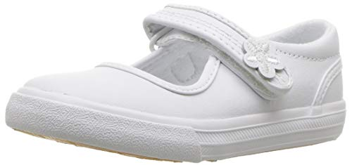 Keds Unisex-Chid Ella Mary Jane Sneaker ,White,10 M US Toddler