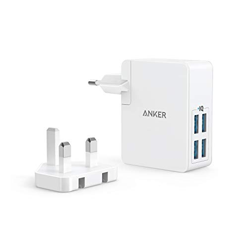 Anker PowerPort Lite 27W 2.4A 4 Port USB Ladegerät mit Austauschbarem UK und EU Reiseadapter und Power IQ für iPhone 8/8 Plus / 7 / 6s, iPad Air/Mini, Samsung Galaxy/Note, LG, HTC usw. (Weiß)
