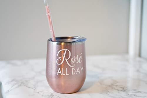 Just454on Rose - Vaso de vino con tapa y pajita para vino de oro rosa, regalo divertido para mujeres