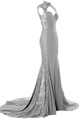 MACloth Femmes Sirène Col Haut en Dentelle Longue Robe De Mariée Formelle Robe (58, Silver)