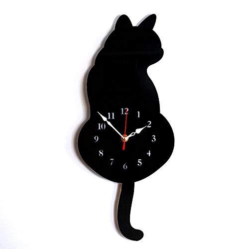 HERVI CYQ Wanduhr Kreative DIY Katze Acryl Wanduhr mit Schaukel Schwanz Pendulum for Wohnzimmer Schlafzimmer Küche HauptDécor (Farbe : B)