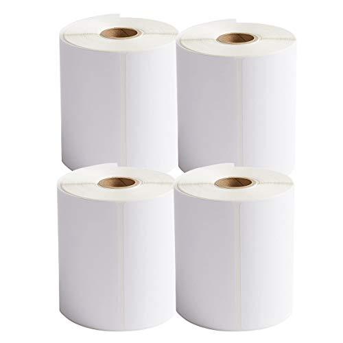 Etiquetas térmicas directas de transferencia térmica 101 x 152 mm, color blanco, 4 rollos de etiquetas adhesivas