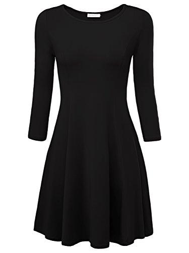 BAISHENGGT Damen Skaterkleid Rundhals 3/4-Arm Fattern Stretch Basic Kleider Schwarz S