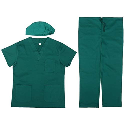 PRETYZOOM 1 Set Korte Mouwen Katoen Comfortabele Isolatie Kleding Verpleegster Werkkleding Met Hoed Voor Lab Ziekenhuis Kliniek (Groen Maat Xxl)