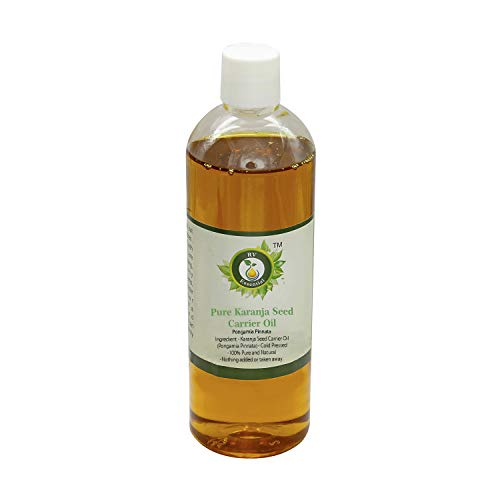 R V Essential Aceite puro de portador de semillas de Karanja 100ml (3.38oz)- Pongamia Pinnata (100% puro y natural Prensado en frío) Pure Karanja Seed Carrier Oil