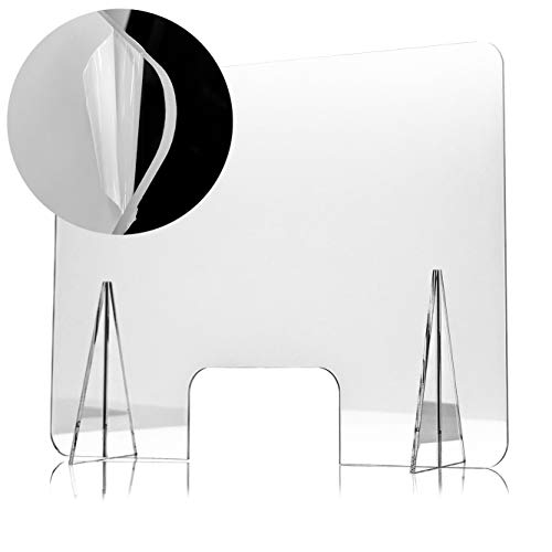 Mampara Protectora de Metacrilato 70x50cm, Grosor de 5mm, Transparente con Ventanillas y Bases para Mostrador y Mesa
