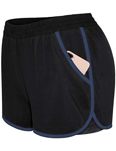 Blevonh Womens Shorts for Summer,Plus Women Fashionable Athletic Short Inner Leggings Ladies Flexible Waist Recreation Outdoor Climbing Boardshorts Running Outfits Black XL