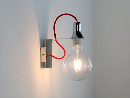 DIAMANTLUX MINI AP RD applique lampada da parete design moderno minimal cromato lucido filo rosso...