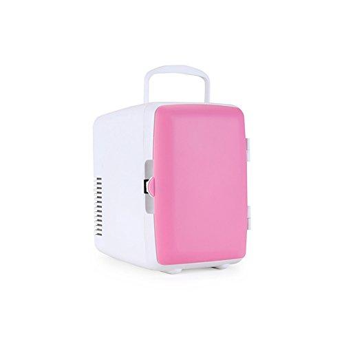 Tragbarer Auto-Kühlschrank 4L Hohe Kapazität 220V Familiennutzung 12V Autobenutzung Schnelle Kühlung Elektrischer Gefrierschrank Für Auto,Pink