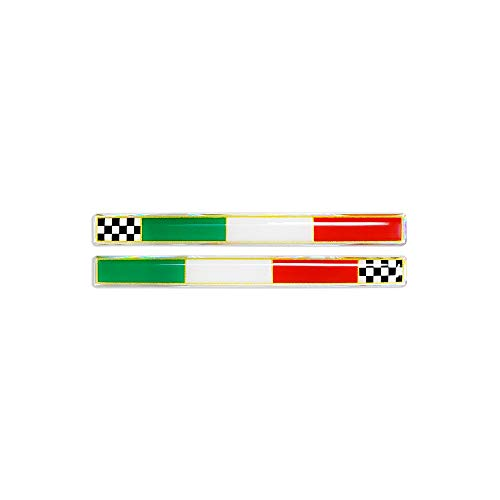 4R Quattroerre.it 14080 Etiqueta Adhesiva 3D Bandera Delgado Italia Ajedrez DX-SX HQ, 110 x 10 mm, Multicolor
