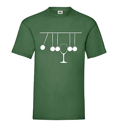 Generisch Cuna de Newton con Vidrio Hombre Camiseta - shirt84 - Verde Botella, L