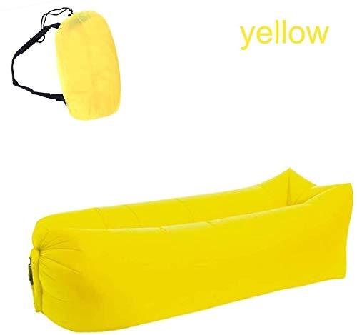 Saco de dormir luz for Acampar Impermeable Bolsa Inflable sofá Cama Perezosa Adulto Agua Aire sillón Plegable rápido, Color: Verde (Color : Yellow)