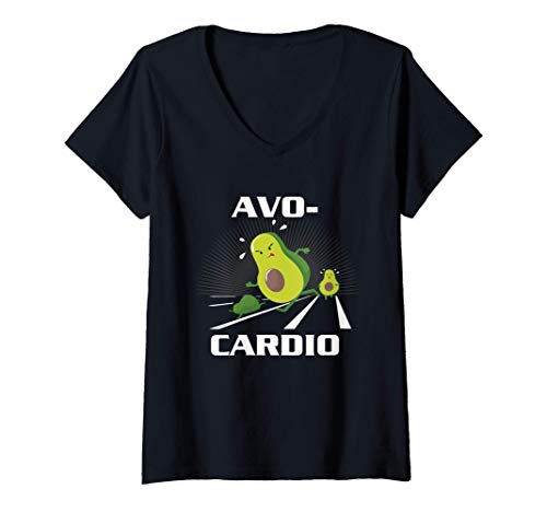 Womens Avocardio Keto Low Carb Diet Avocado Pun Cardio Gym Workout V-Neck T-Shirt
