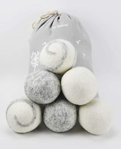 ASN Store Juego de 6 bolas de secado para secadora y chaquetas de plumón, sin sustancias nocivas y respetuosas con los animales, 100% pura lana de oveja, bolas secadoras de lana para plumón.