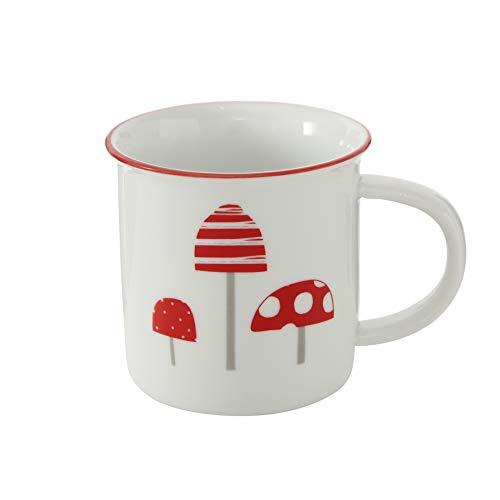 Bloominghome Tasse mit Henkel Keramik Kaffeetasse Fliegenpilz Glückspilz Weihnachten